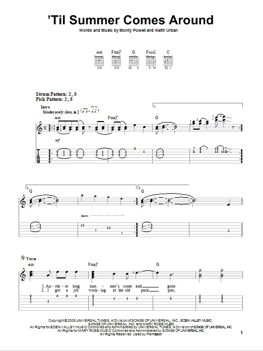 'Til Summer Comes Around (Easy Guitar Tab)