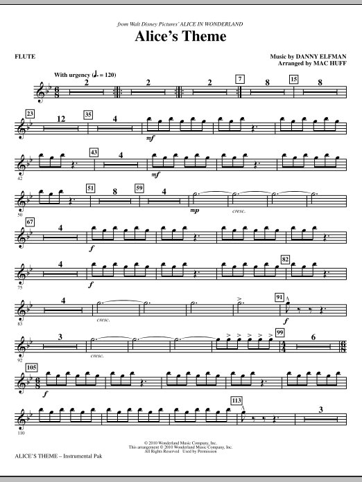Alice's Theme (complete set of parts) sheet music for orchestra/band (chamber ensemble) by Mac Huff and Danny Elfman. Score Image Preview.