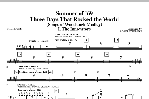 Summer Of '69: Three Days That Rocked The World - Trombone (Choir Instrumental Pak)