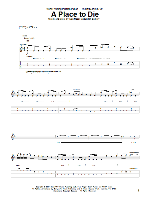 A Place To Die Sheet Music