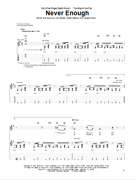 Tablature guitare Never Enough de Five Finger Death Punch - Tablature Guitare