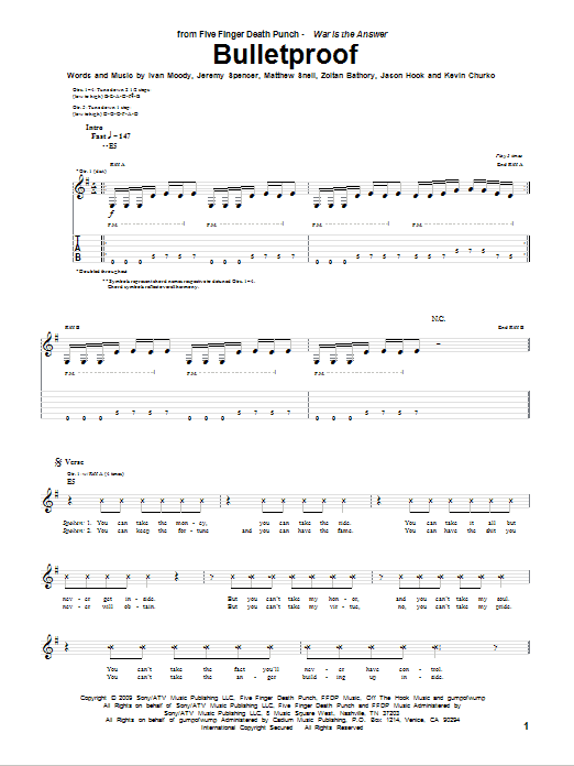 Tablature guitare Bulletproof de Five Finger Death Punch - Tablature Guitare