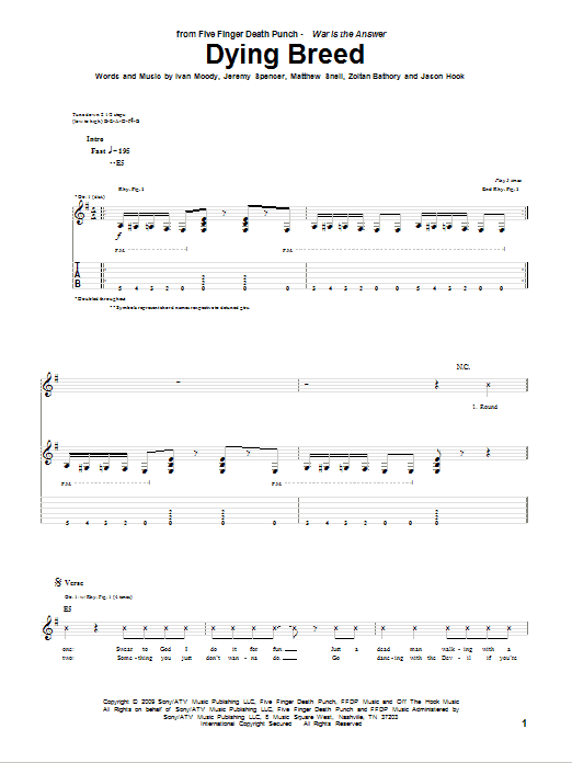 Tablature guitare Dying Breed de Five Finger Death Punch - Tablature Guitare