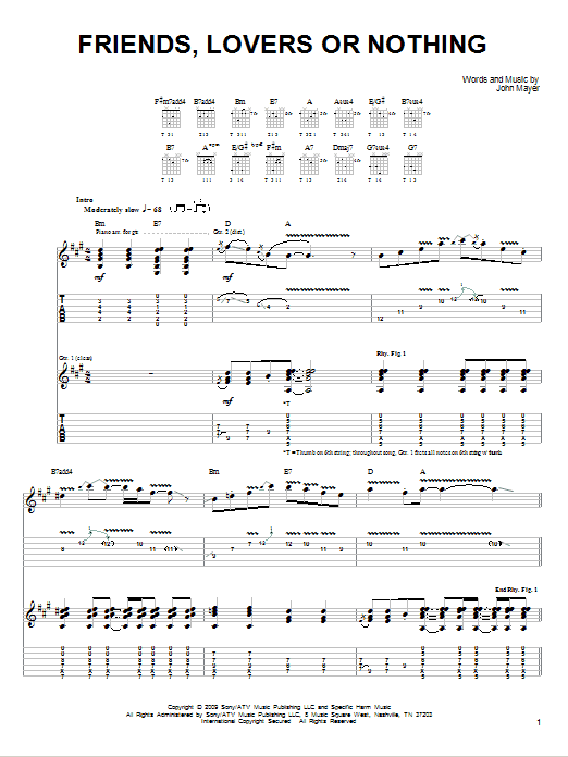 Tablature guitare Friends, Lovers Or Nothing de John Mayer - Tablature guitare facile