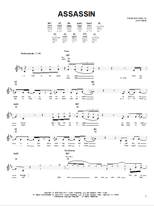 Assassin Sheet Music