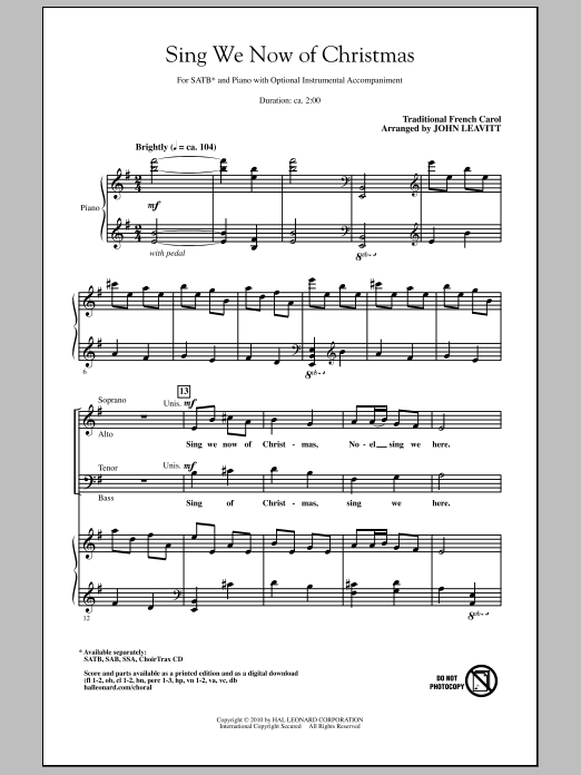 Sing We Now Of Christmas Sheet Music