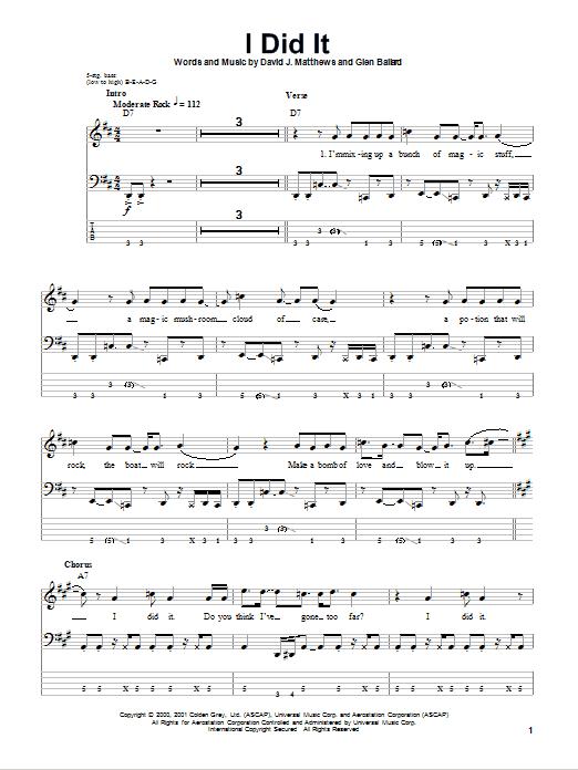I Did It (Bass Guitar Tab)