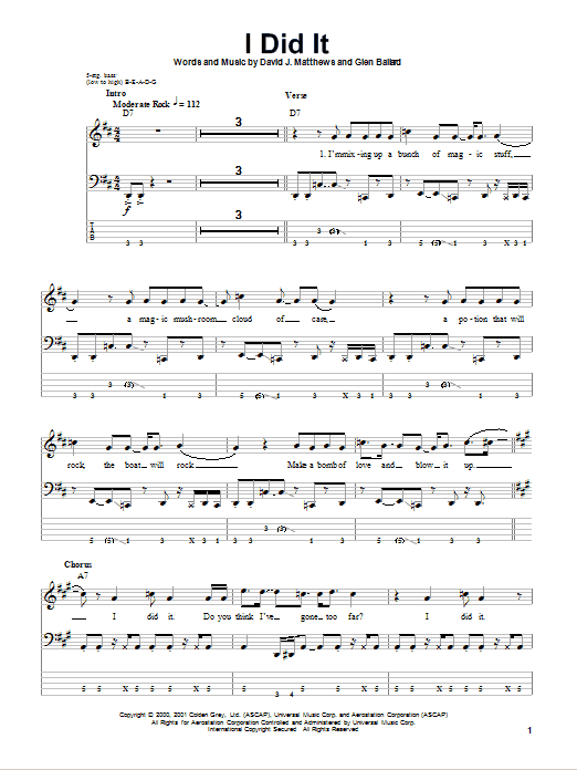 Tablature guitare I Did It de Dave Matthews Band - Tablature Basse