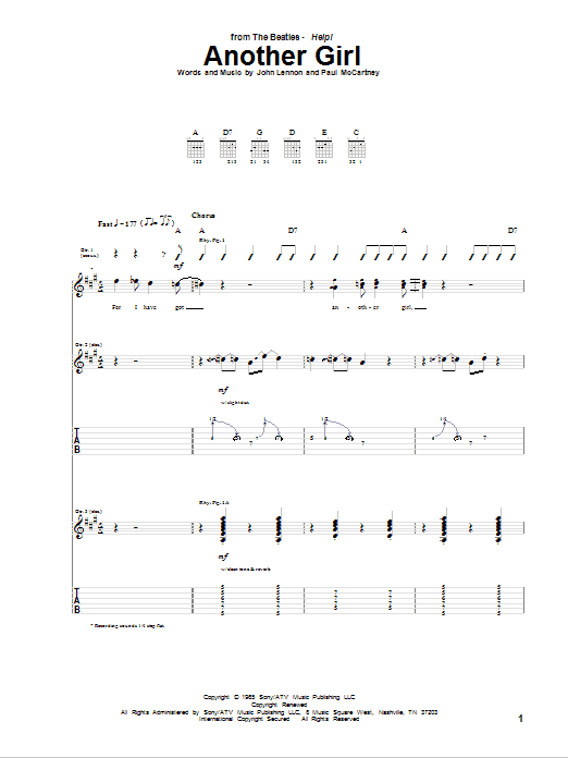 Tablature guitare Another Girl de The Beatles - Tablature Guitare