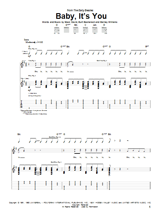 Tablature guitare Baby, It's You de The Beatles - Tablature Guitare