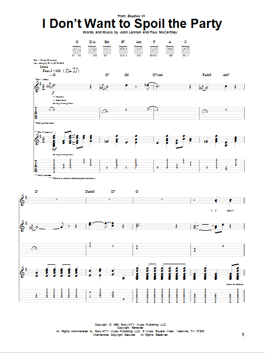 Tablature guitare I Don't Want To Spoil The Party de The Beatles - Tablature Guitare