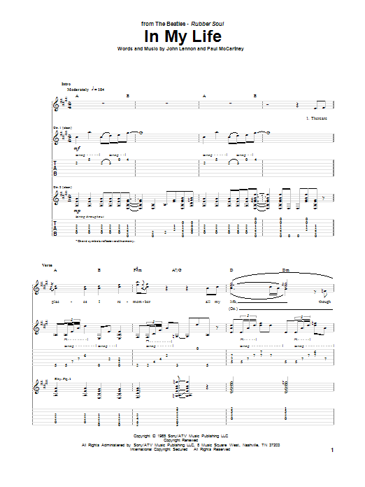 In My Life (Guitar Tab)