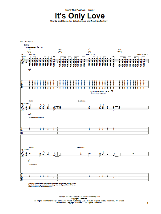 Tablature guitare It's Only Love de The Beatles - Tablature Guitare