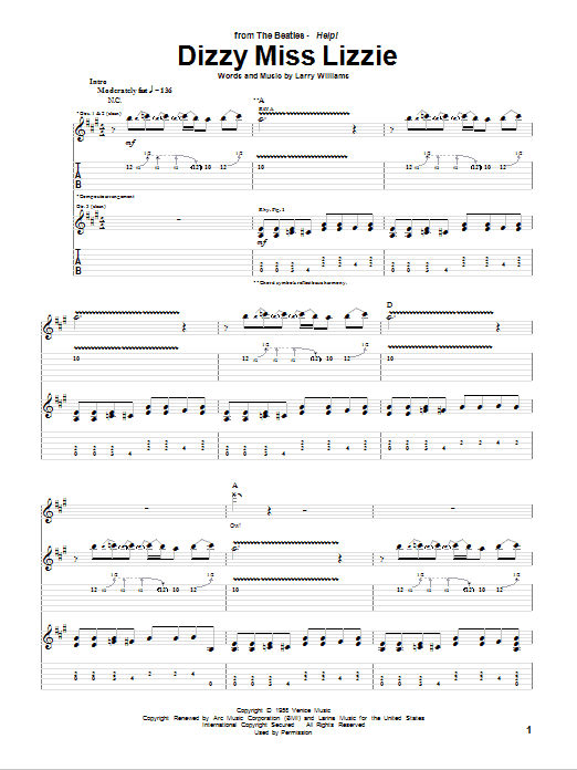 Tablature guitare Dizzy Miss Lizzie de The Beatles - Tablature Guitare