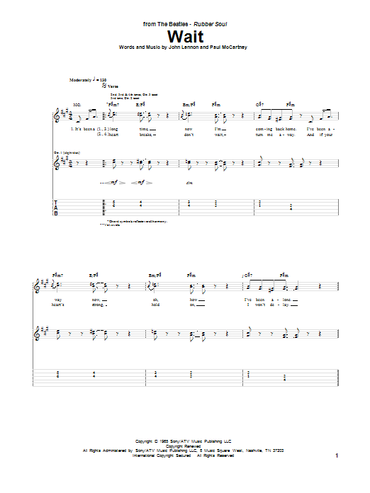 Tablature guitare Wait de The Beatles - Tablature Guitare