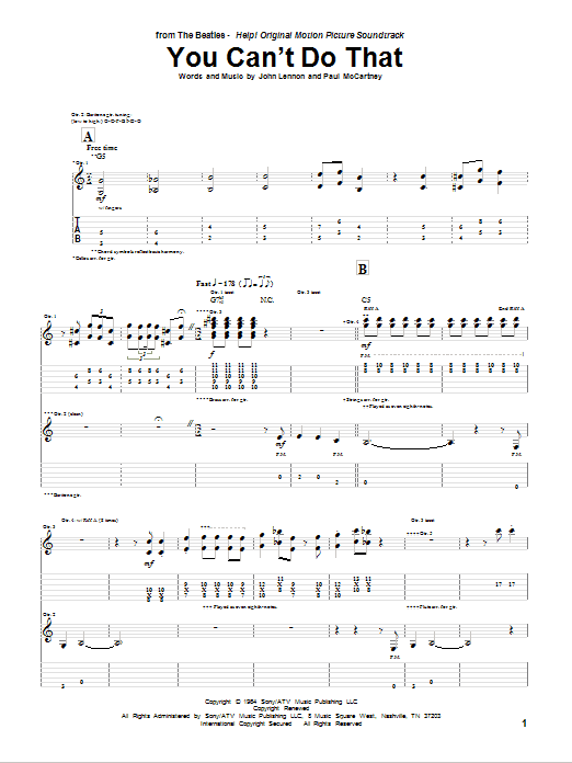 You Can't Do That (Guitar Tab)