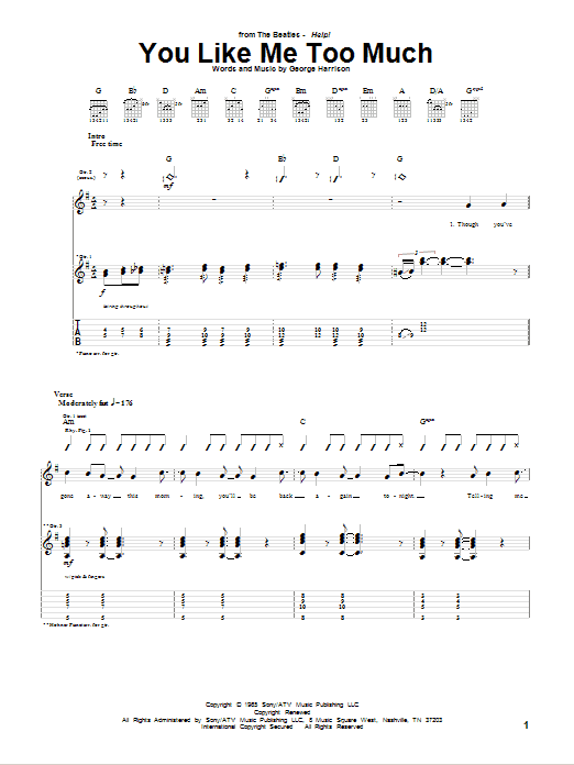 You Like Me Too Much (Guitar Tab)