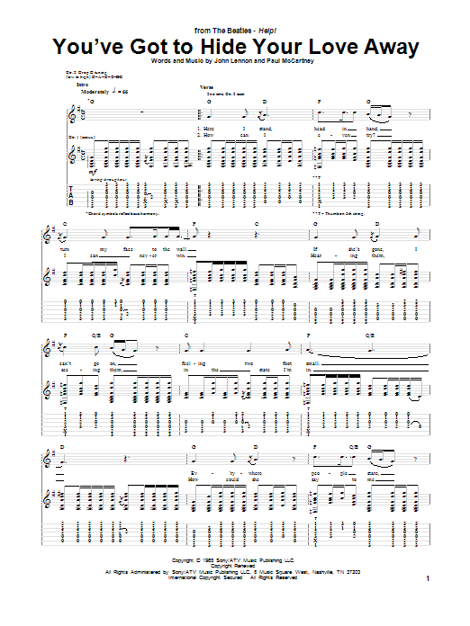 You've Got To Hide Your Love Away (Guitar Tab)