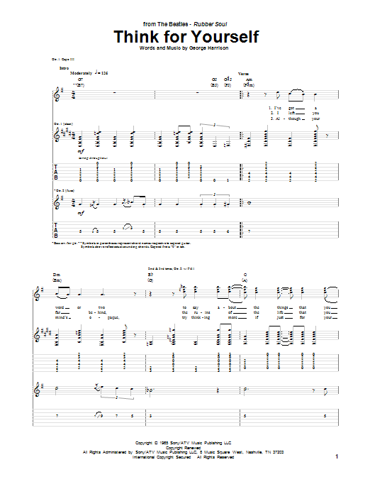 Think For Yourself Sheet Music