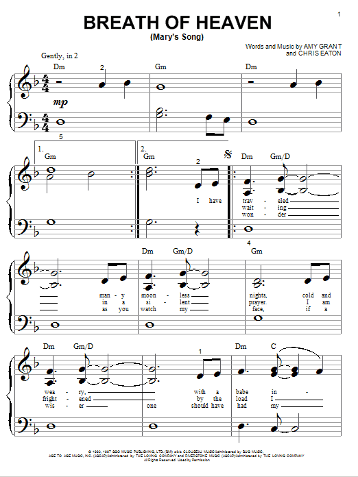 Breath Of Heaven (Mary's Song) Sheet Music
