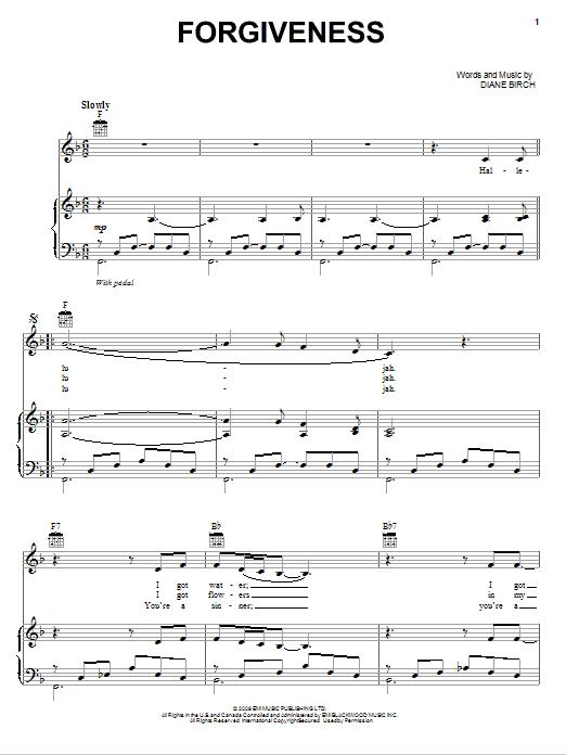 Partition piano Forgiveness de Diane Birch - Piano Voix Guitare (Mélodie Main Droite)
