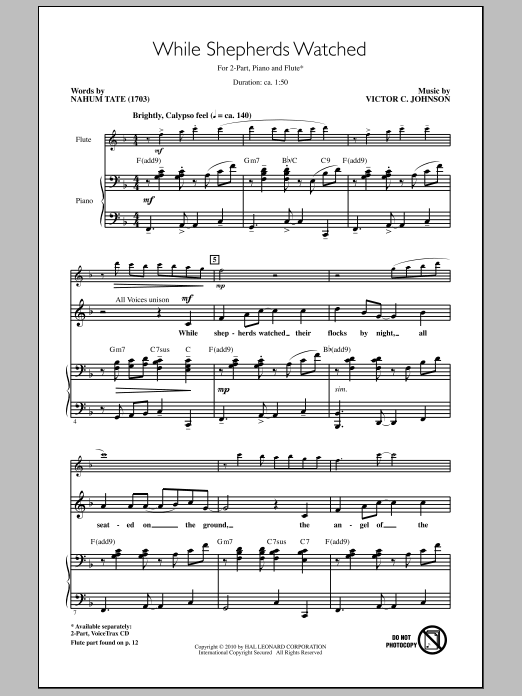 While Shepherds Watched Sheet Music