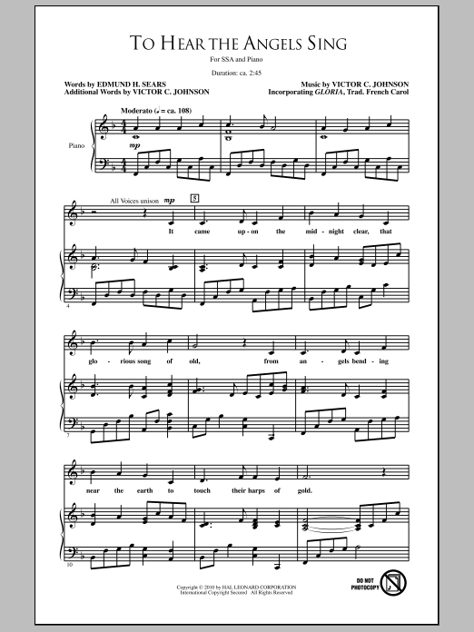 To Hear The Angels Sing Sheet Music