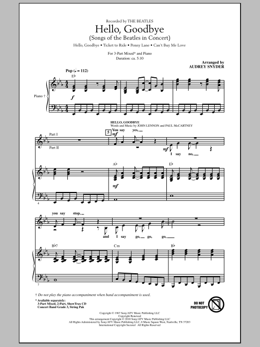 Hello, Goodbye (Songs Of The Beatles In Concert) Sheet Music