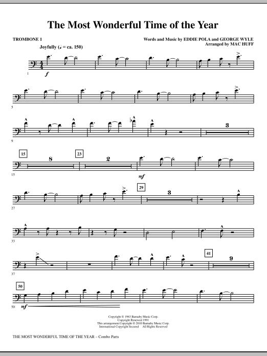 The Most Wonderful Time Of The Year - Trombone 1 (Choir Instrumental Pak)