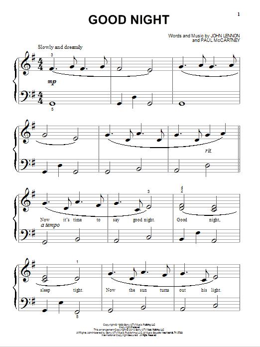 Good Night (Big Note Piano)