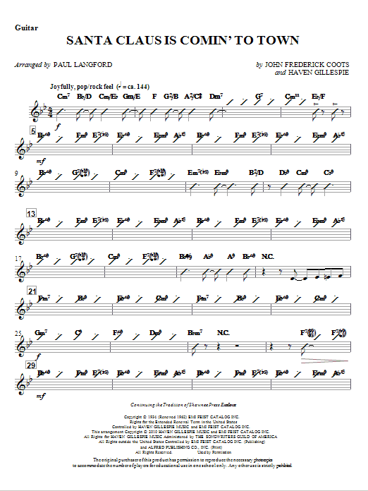 Santa Claus Is Comin' To Town - Guitar (Choir Instrumental Pak)