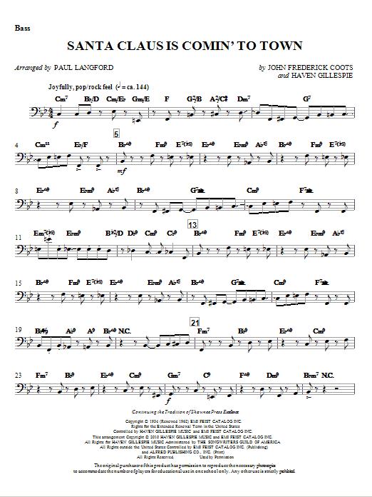 Santa Claus Is Comin' To Town - Bass (Choir Instrumental Pak)
