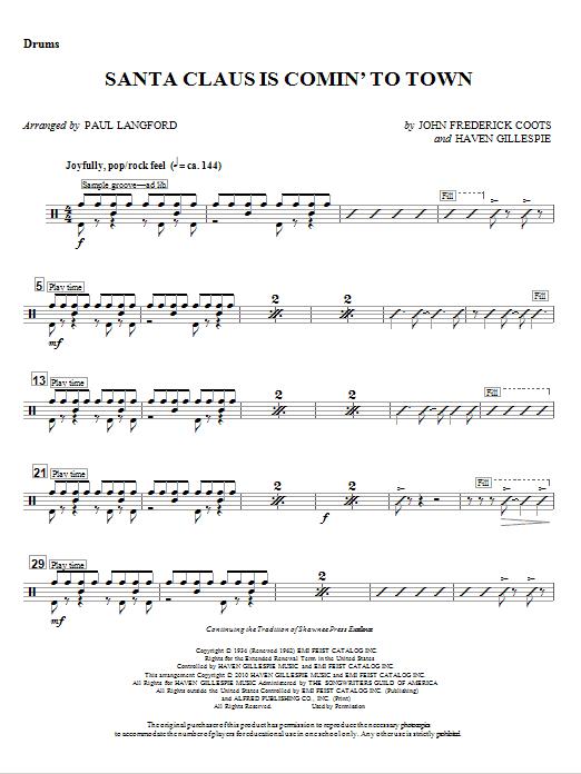 Santa Claus Is Comin' To Town - Drum Set (Choir Instrumental Pak)