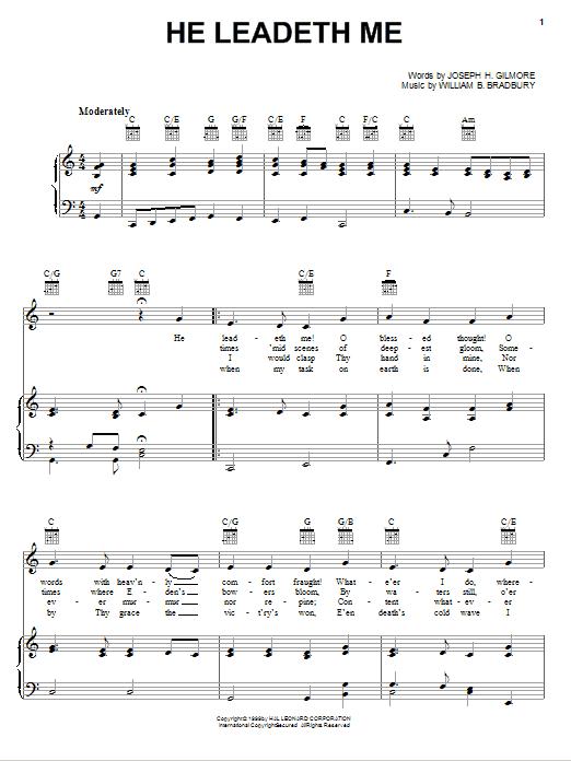 Partition piano He Leadeth Me de William B. Bradbury - Piano Voix Guitare (Mélodie Main Droite)