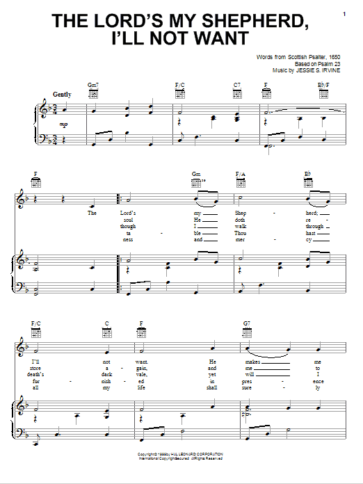 Partition piano The Lord's My Shepherd, I'll Not Want de Scottish Psalter - Piano Voix Guitare (Mélodie Main Droite)