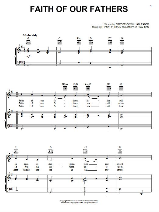 Partition piano Faith Of Our Fathers de Frederick William Faber - Piano Voix Guitare (Mélodie Main Droite)