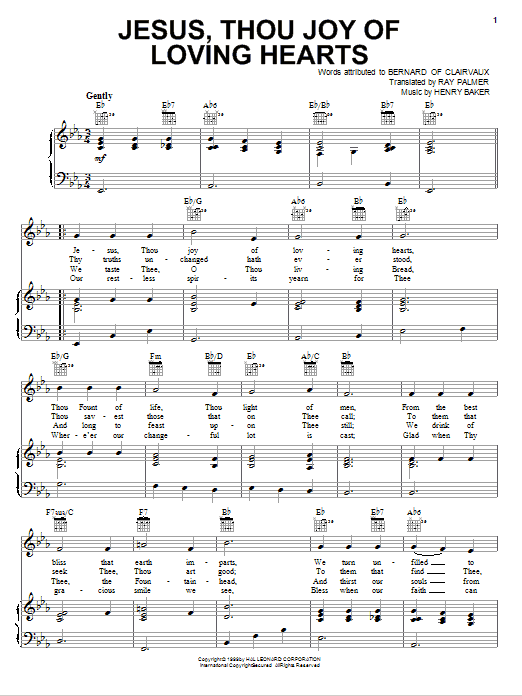Jesus, Thou Joy Of Loving Hearts (Piano, Vocal & Guitar (Right-Hand Melody))
