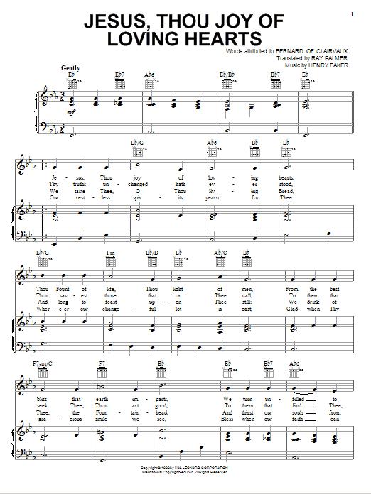Jesus, Thou Joy Of Loving Hearts Sheet Music