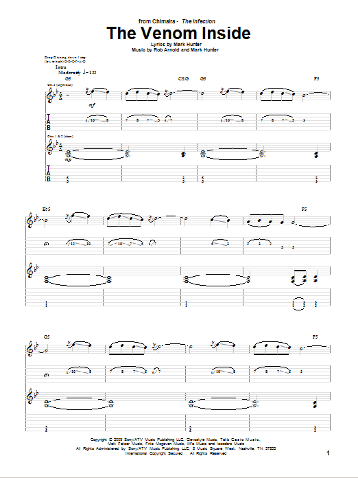 Tablature guitare The Venom Inside de Chimaira - Tablature Guitare