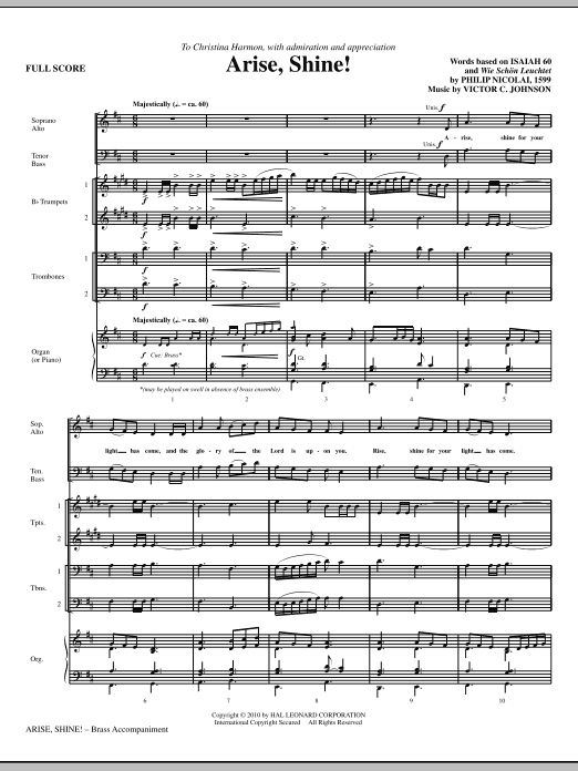 Arise, Shine! (COMPLETE) sheet music for orchestra/band (Brass) by Victor Johnson. Score Image Preview.