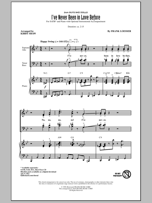 I've Never Been In Love Before (SATB Choir)