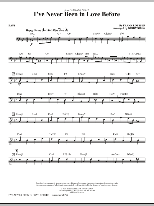 page one of I've Never Been In Love Before - BassASALTTEXT