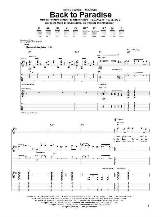 Back To Paradise (Guitar Tab)