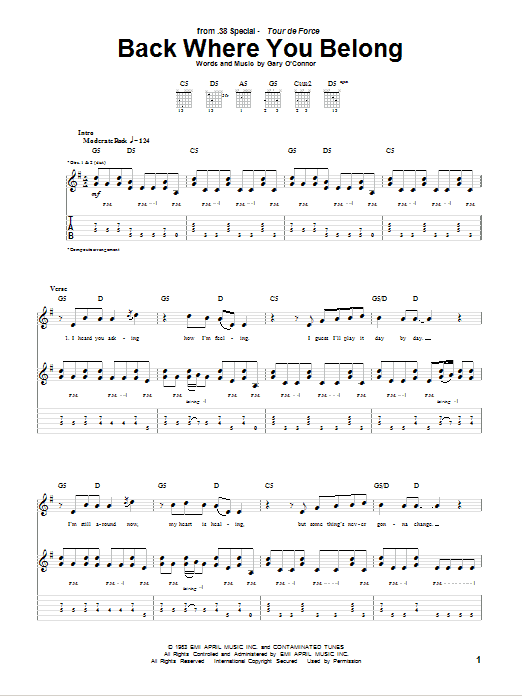 Tablature guitare Back Where You Belong de 38 Special - Tablature Guitare