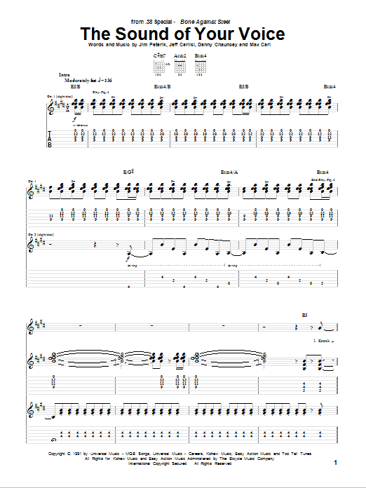 Tablature guitare The Sound Of Your Voice de 38 Special - Tablature Guitare