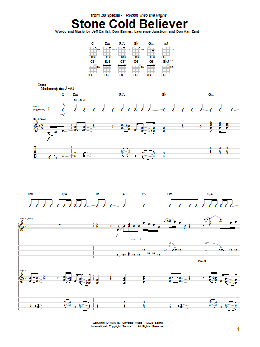 Stone Cold Believer Sheet Music