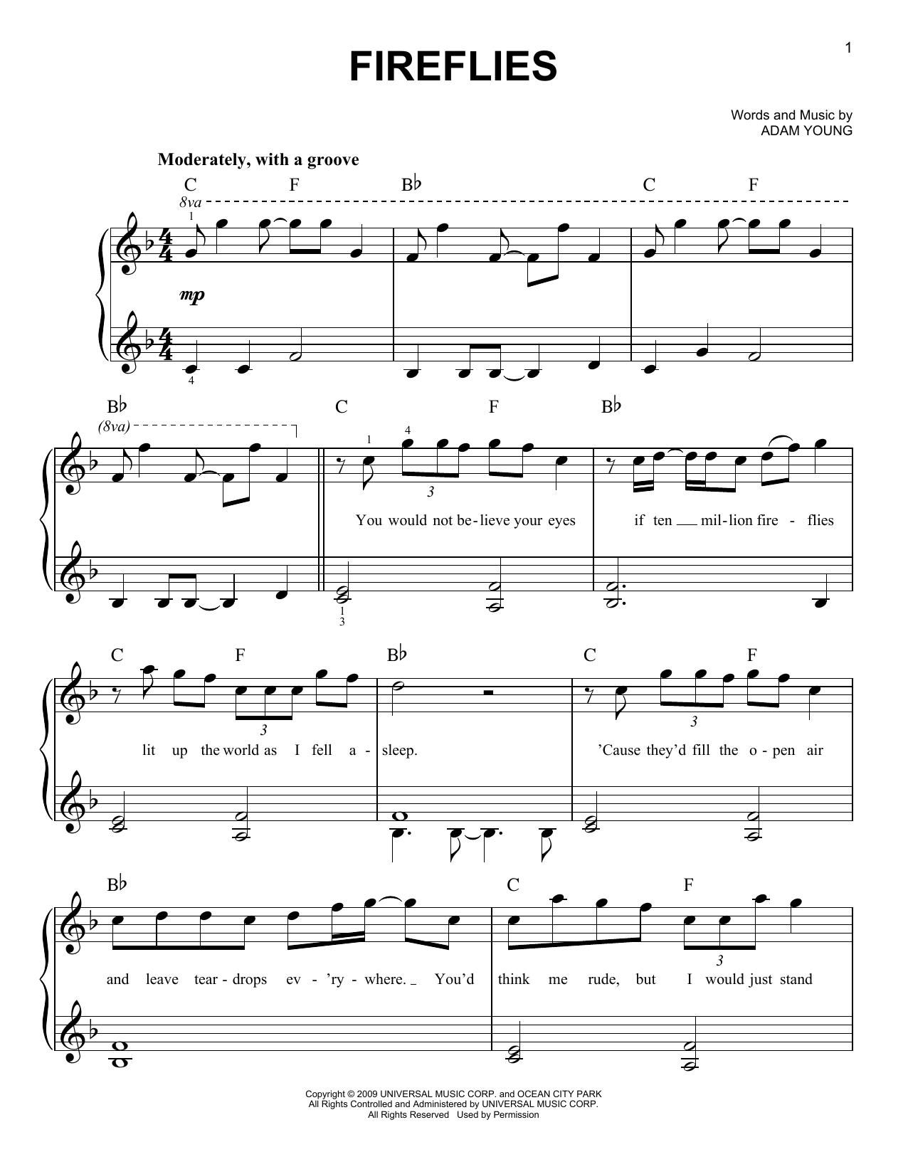 Partition piano Fireflies de Owl City - Piano Facile