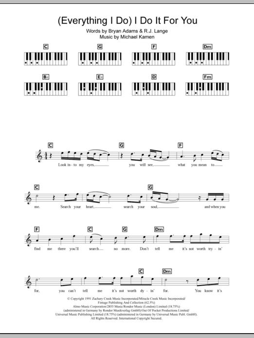Everything I Do) I Do It For You - Sheet Music to Download