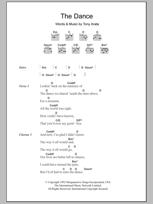The Dance | Garth Brooks | Lyrics & Chords