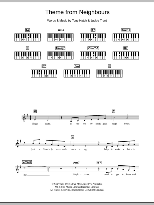 Theme From Neighbours (Piano Chords/Lyrics)